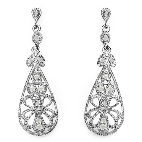 0.33 Carat Genuine White Diamond .925 Sterling Silver Earrings