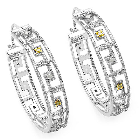 0.30 Carat Genuine White Diamond & Yellow Diamond .925 Sterling Silver Earrings