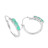 0.84 Carat Genuine Emerald .925 Sterling Silver Earrings