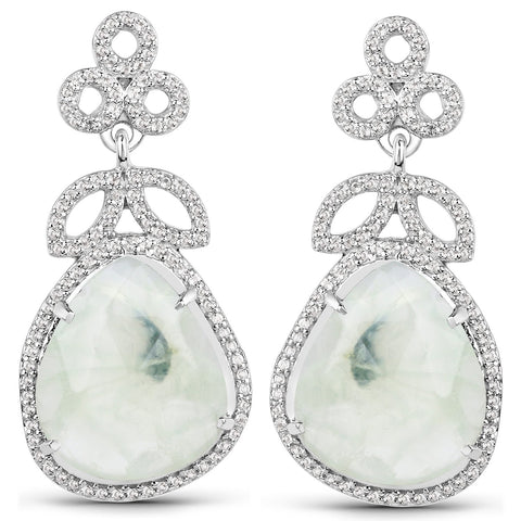 LoveHuang 16.02 Carats Genuine Prehnite and White Topaz Floral Earrings Solid .925 Sterling Silver With Rhodium Plating