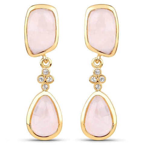 LoveHuang 11.72 Carats Genuine Rose Quartz and White Topaz Dangle Earrings Solid .925 Sterling Silver With 18KT Yellow Gold Plating
