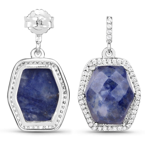 LoveHuang 11.21 Carats Genuine Blue Aventurine and White Topaz Dangle Earrings Solid .925 Sterling Silver With Rhodium Plating