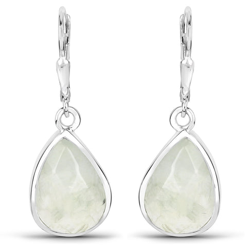 LoveHuang 8.01 Carats Genuine Prehnite Dangle Earrings Solid .925 Sterling Silver With Rhodium Plating