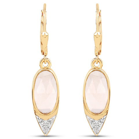 LoveHuang 3.98 Carats Genuine Rose Quartz and White Topaz Dangle Earrings Solid .925 Sterling Silver With 18KT Yellow Gold Plating