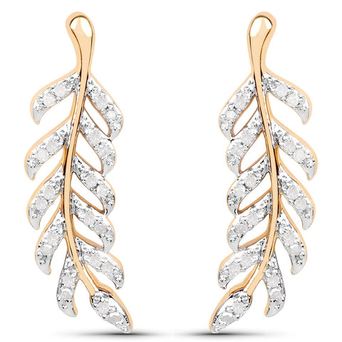 LoveHuang 0.22 Carats Genuine White Diamond (I-J, I2-I3) Leaf Earrings Solid .925 Sterling Silver With 18KT Yellow Gold Plating