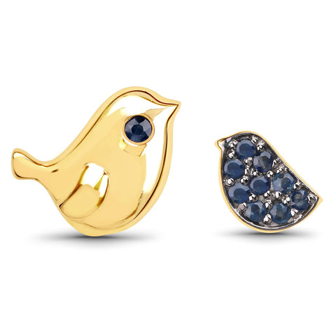 LoveHuang 0.20 Carats Genuine Blue Sapphire Bonding Bird Earrings Solid .925 Sterling Silver With 18KT Yellow Gold Plating