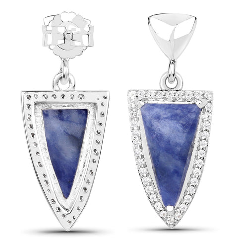 LoveHuang 4.46 Carats Genuine Blue Aventurine and White Topaz Arrowhead Earrings Solid .925 Sterling Silver With Rhodium Plating