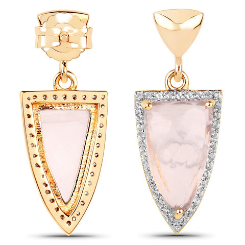 LoveHuang 6.62 Carats Genuine Rose Quartz and White Topaz Arrowhead Earrings Solid .925 Sterling Silver With 18KT Yellow Gold Plating