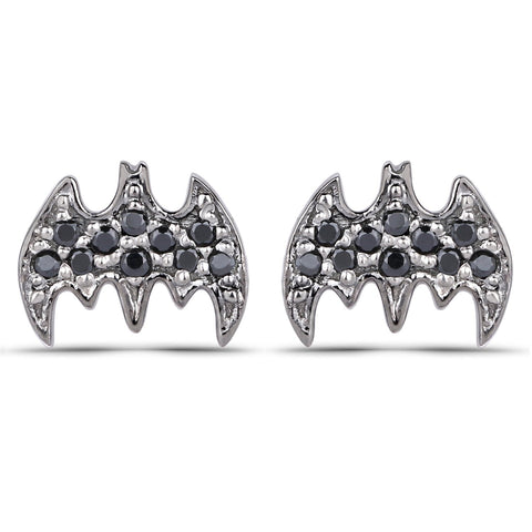 LoveHuang 0.13 Carats Genuine Black Spinel Batarang Earrings Solid .925 Sterling Silver With Rhodium Plating