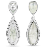 LoveHuang 11.32 Carats Genuine Prehnite and White Topaz Teardrop Earrings Solid .925 Sterling Silver With Rhodium Plating