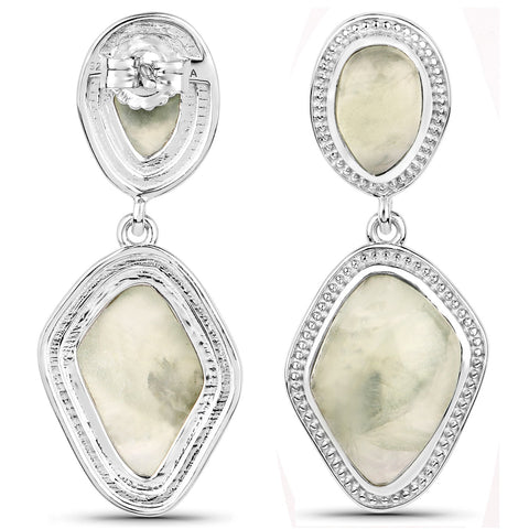 LoveHuang 17.46 Carats Genuine Prehnite Grain Dangle Earrings Solid .925 Sterling Silver With Rhodium Plating