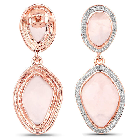 LoveHuang 15.34 Carats Genuine Rose Quartz Grain Dangle Earrings Solid .925 Sterling Silver With 18KT Rose Gold Plating