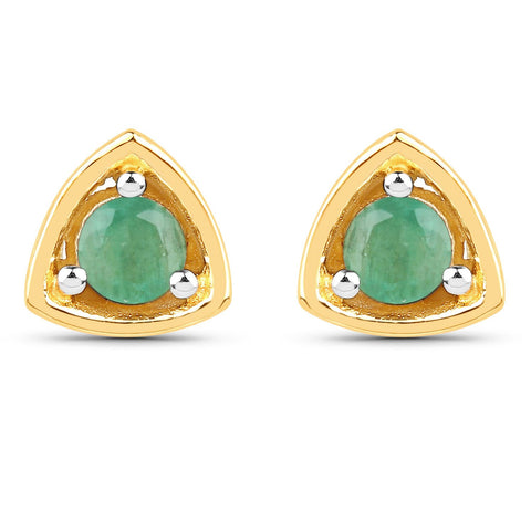LoveHuang 0.18 Carats Genuine Sakota Emerald Triangle Stud Earrings Solid .925 Sterling Silver With 18KT Yellow Gold Plating