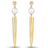 LoveHuang 0.11 Carats Genuine Morganite Bullet Earrings Solid .925 Sterling Silver With 18KT Yellow Gold Plating