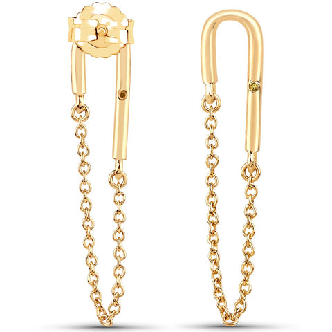 LoveHuang 0.01 Carats Genuine Yellow Diamond (I-J, I2-I3) Dangling Chain Earrings Solid .925 Sterling Silver With 18KT Yellow Gold Plating