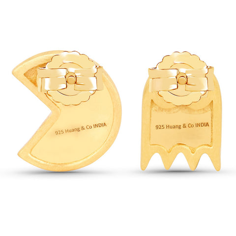 LoveHuang 0.14 Carats Genuine Ruby Pacman Earrings Solid .925 Sterling Silver With 18KT Yellow Gold Plating, Matte Finish