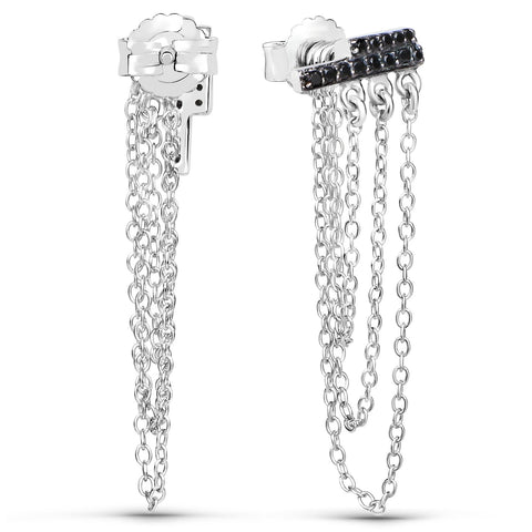 LoveHuang 0.20 Carats Genuine Black Spinel Dangling Chain Earrings Solid .925 Sterling Silver With Rhodium Plating