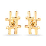 LoveHuang 0.01 Carats Genuine Yellow Diamond (I-J, I2-I3) Hashtag Earrings Solid .925 Sterling Silver With 18KT Yellow Gold Plating