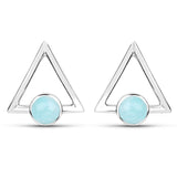 LoveHuang 0.92 Carats Genuine Amazonite Minimalist Earrings Solid .925 Sterling Silver With Rhodium Plating
