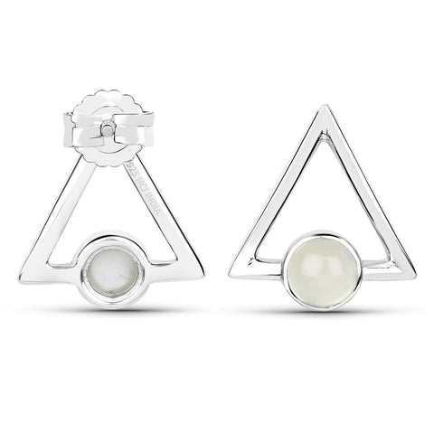 LoveHuang 1.03 Carats Genuine Prehnite Minimalist Earrings Solid .925 Sterling Silver With Rhodium Plating
