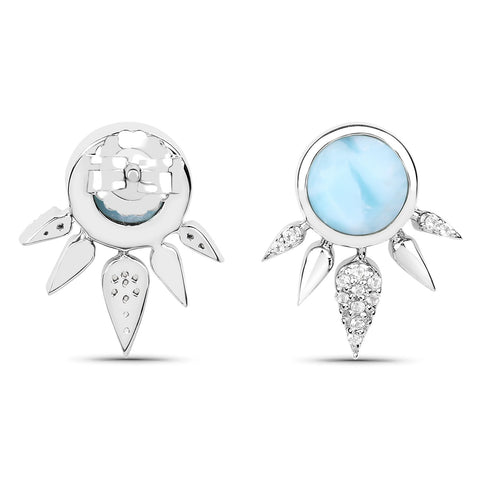 LoveHuang 2.89 Carats Genuine Larimar and White Topaz Art Deco Stud Earrings Solid .925 Sterling Silver With Rhodium Plating