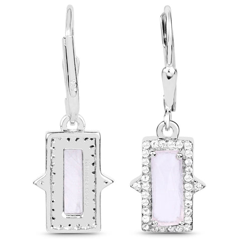 LoveHuang 3.10 Carats Genuine Rose Quartz and White Topaz Baguette Dangle Earrings Solid .925 Sterling Silver With Rhodium Plating