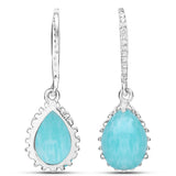 LoveHuang 10.72 Carats Genuine Amazonite and White Topaz Art Deco Earrings Solid .925 Sterling Silver With Rhodium Plating