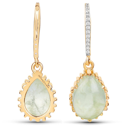 LoveHuang 8.83 Carats Genuine Prehnite and White Topaz Art Deco Earrings Solid .925 Sterling Silver With 18KT Yellow Gold Plating