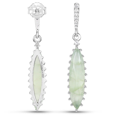LoveHuang 7.52 Carats Genuine Prehnite and White Topaz Art Deco Earrings Solid .925 Sterling Silver With Rhodium Plating