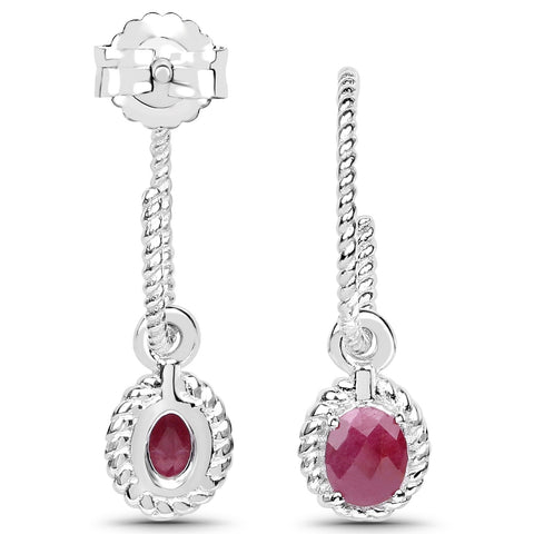 LoveHuang 0.74 Carats Genuine Ruby Dangle Earrings Solid .925 Sterling Silver With Rhodium Plating