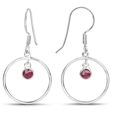 LoveHuang 0.76 Carats Genuine Ruby Minimalist Earrings Solid .925 Sterling Silver With Rhodium Plating