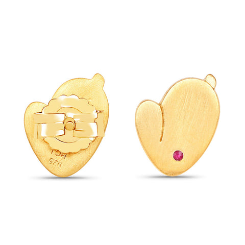 LoveHuang 0.02 Carats Genuine Ruby Bunny Earrings Solid .925 Sterling Silver With 18KT Yellow Gold Plating, Matte Finish