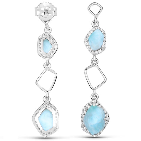 LoveHuang 1.89 Carats Genuine Larimar and White Topaz Dangle Earrings Solid .925 Sterling Silver With Rhodium Plating