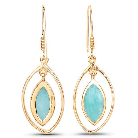 LoveHuang 6.27 Carats Genuine Amazonite Dangle Earrings Solid .925 Sterling Silver With 18KT Yellow Gold Plating