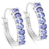 2.38 Carat Genuine Tanzanite .925 Sterling Silver Earrings