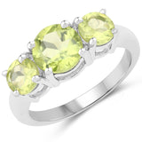 2.35 Carat Genuine Peridot .925 Sterling Silver Ring