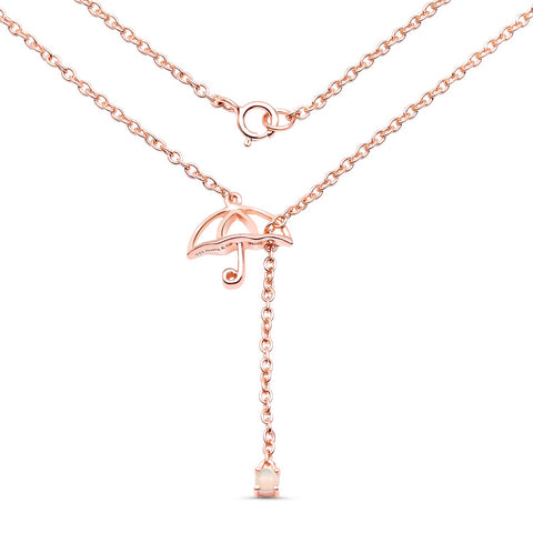 LoveHuang 0.04 Carats Genuine Ethiopian Opal Umbrella Necklace Solid .925 Sterling Silver With 18KT Rose Gold Plating, 18Inch Chain