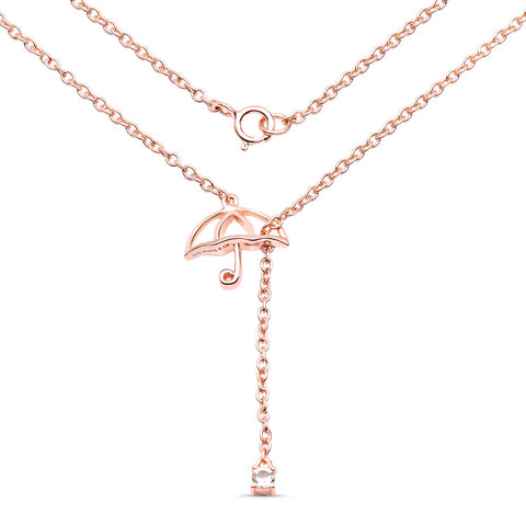 LoveHuang 0.05 Carats Genuine Morganite Umbrella Pendant Solid .925 Sterling Silver With 18KT Rose Gold Plating, 18Inch Chain