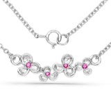 LoveHuang 0.07 Carats Genuine Ruby Blossom Pendant Solid .925 Sterling Silver With Rhodium Plating, 18Inch Chain