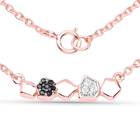 LoveHuang 0.13 Carats Genuine Black Spinel and White Topaz Alternating Necklace Solid .925 Sterling Silver With 18KT Rose Gold Plating, 18Inch Chain