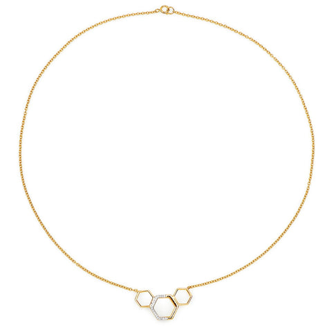 LoveHuang 0.09 Carats Genuine White Topaz Minimalist Hexagon Necklace Solid .925 Sterling Silver With 18KT Yellow Gold Plating, 18Inch Chain