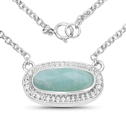 LoveHuang 2.34 Carats Genuine Amazonite and White Topaz Necklace Solid .925 Sterling Silver With Rhodium Plating, 18Inch Chain