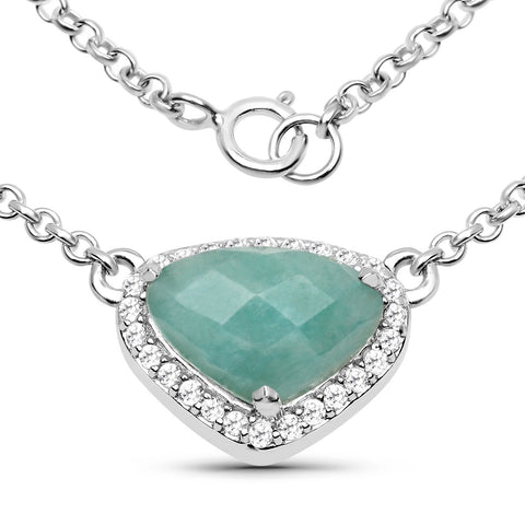 LoveHuang 3.04 Carats Genuine Amazonite and White Topaz Necklace Solid .925 Sterling Silver With Rhodium Plating, 18Inch Chain