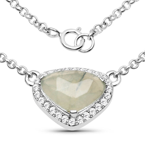 LoveHuang 3.08 Carats Genuine Prehnite and White Topaz Necklace Solid .925 Sterling Silver With Rhodium Plating, 18 Inch Chain