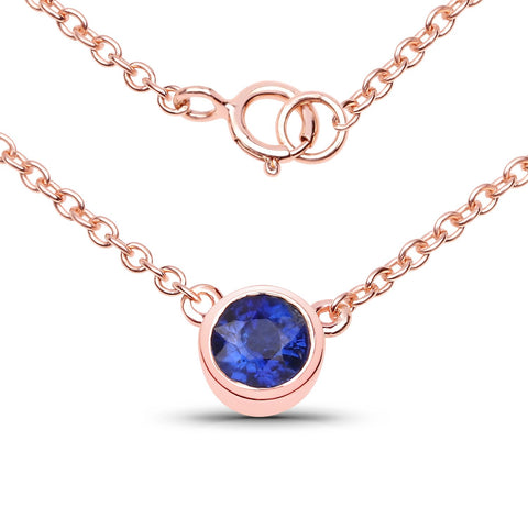 LoveHuang 0.59 Carats Genuine Kyanite Round Bezel Necklace Solid .925 Sterling Silver With 18KT Rose Gold Plating, 18Inch Chain