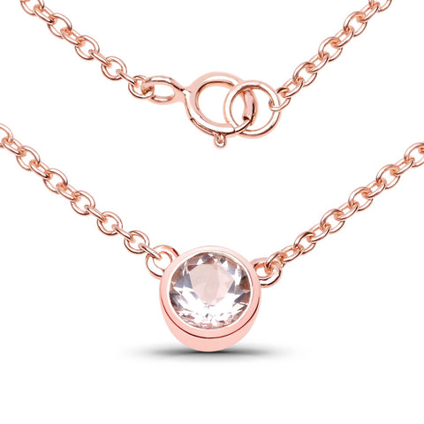 LoveHuang 0.39 Carats Genuine Morganite Round Bezel Necklace Solid .925 Sterling Silver With 18KT Rose Gold Plating, 18Inch Chain