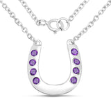 LoveHuang 0.22 Carats Genuine Amethyst Horseshoes Necklace Solid .925 Sterling Silver With Rhodium Plating, 18Inch Chain
