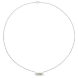 LoveHuang 0.81 Carats Genuine Prehnite and White Topaz Necklace Solid .925 Sterling Silver With Rhodium Plating, 18Inch Chain