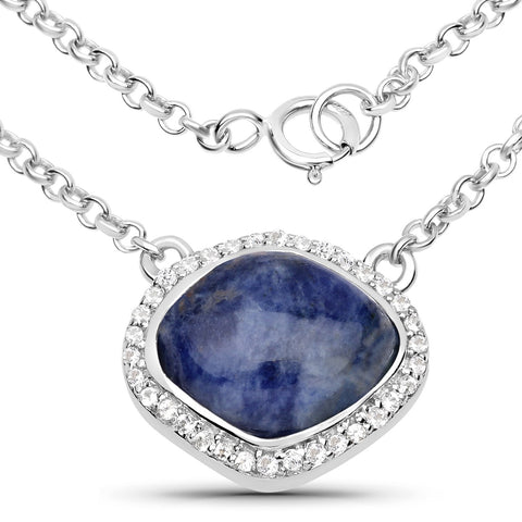 LoveHuang 3.30 Carats Genuine Blue Aventurine and White Topaz Necklace Solid .925 Sterling Silver With Rhodium Plating, 18Inch Chain