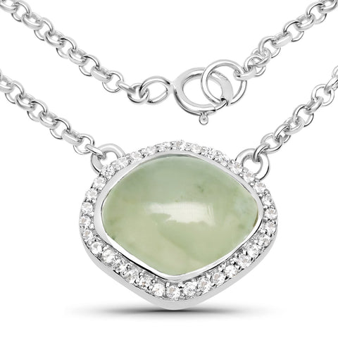 LoveHuang 4.06 Carats Genuine Prehnite and White Topaz Pendant Solid .925 Sterling Silver With Rhodium Plating, 18 Inch Chain